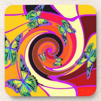 Diseño del arte moderno de las mariposas por posavasos