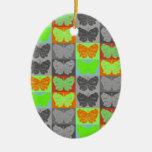Diseño del arte pop de la mariposa - 5 ornamentos de reyes