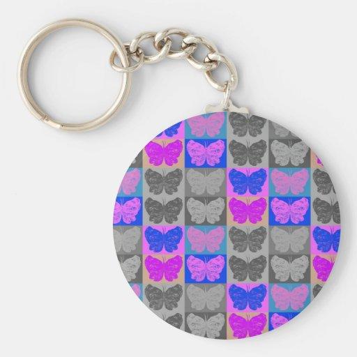 Diseño del arte pop de la mariposa - 7 llavero