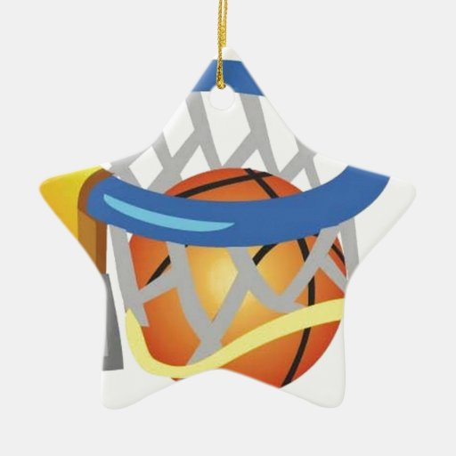 Diseño del baloncesto adorno navideño de cerámica en forma de estrella