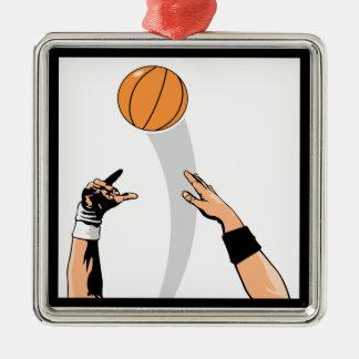 diseño del baloncesto de la bola de salto adorno navideño cuadrado de metal