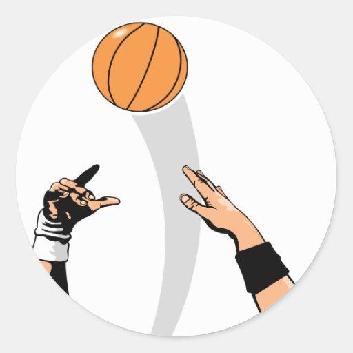 diseño del baloncesto de la bola de salto etiquetas redondas