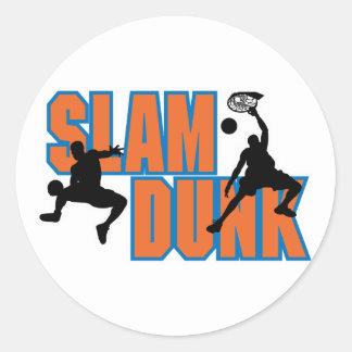 diseño del baloncesto de la clavada pegatina redonda