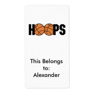 diseño del baloncesto de los aros etiquetas de envío