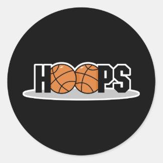 diseño del baloncesto de los aros etiquetas redondas