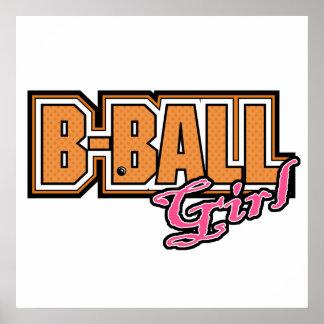 diseño del baloncesto del chica del b-ball póster