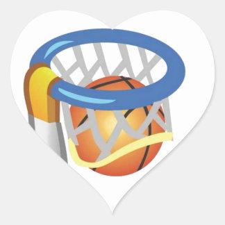 Diseño del baloncesto calcomania de corazon personalizadas