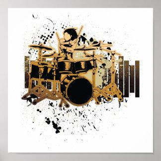 diseño del batería del grunge póster