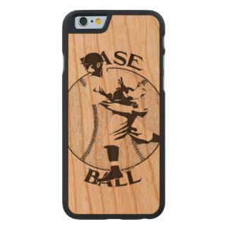 Diseño del béisbol del vintage funda de iPhone 6 carved® de cerezo