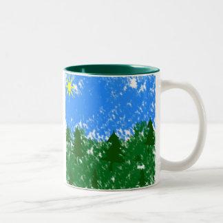 Diseño del bosque tazas de café