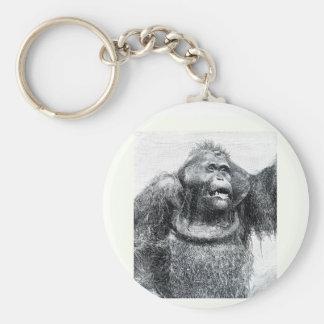 Diseño del bosquejo del dibujo del primate del gor llavero redondo tipo pin