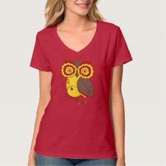 Diseño del búho con Brown amarillo rojo, señoras Playera