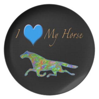 """Diseño del caballo """"amo caballos """" platos para fiestas"""