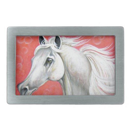 Diseño del caballo blanco hebilla de cinturón rectangular