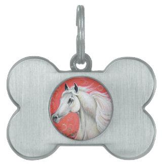 Diseño del caballo blanco placas de mascota