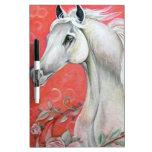 Diseño del caballo blanco pizarras blancas de calidad