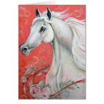 Diseño del caballo blanco tarjeta