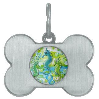 Diseño del caballo de mar placa de mascota