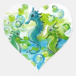 Diseño del caballo de mar pegatina de corazon