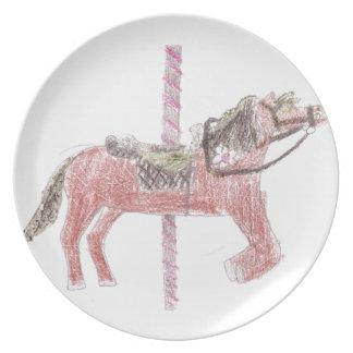 Diseño del caballo del carrusel plato