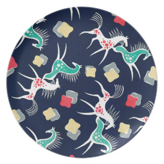 Diseño del caballo del vintage en la marina de plato de cena