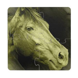 Diseño del caballo posavasos de puzzle