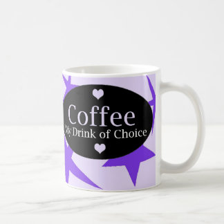 Diseño del café con las estrellas púrpuras taza