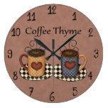 Diseño del café de la cocina del arte del country  reloj redondo grande