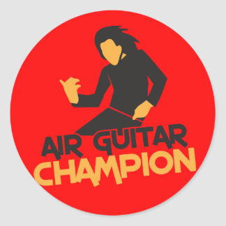 Diseño del campeón de Air Guitar Pegatinas Redondas