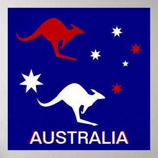 Diseño del canguro y de la cruz del sur de Austral Póster