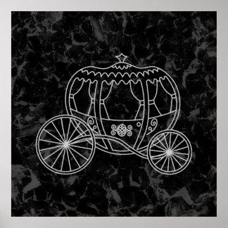 Diseño del carro del cuento de hadas en negro y gr poster