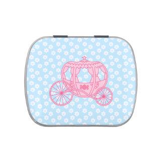 Diseño del carro del cuento de hadas en rosa y azu