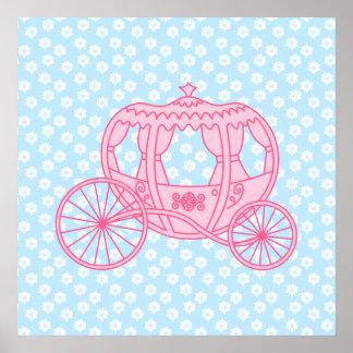 Diseño del carro del cuento de hadas en rosa y azu impresiones