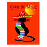 Diseño del CAT de Cinco de Mayo--Adorable Tarjeta Postal