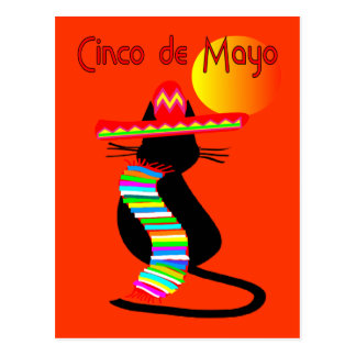 Diseño del CAT de Cinco de Mayo--Adorable Tarjetas Postales
