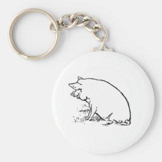 Diseño del cerdo llavero redondo tipo pin