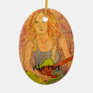 diseño del chica de la roca del indie adornos de navidad