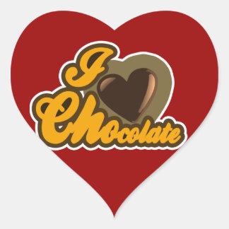 Diseño del chocolate pegatina en forma de corazón