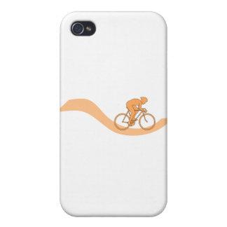 Diseño del ciclista en naranja iPhone 4/4S carcasas