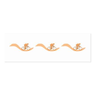 Diseño del ciclista en naranja tarjetas de visita mini