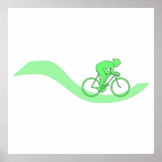 Diseño del ciclista en verde póster