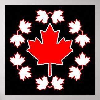 Diseño del círculo de la hoja de arce de Canadá Póster