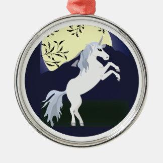 Diseño del círculo de la noche del unicornio ornamento de navidad