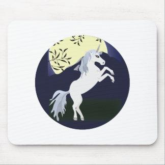 Diseño del círculo de la noche del unicornio tapete de ratones