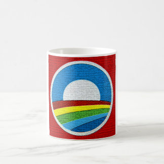 Diseño del círculo de Obama del arco iris Taza Clásica