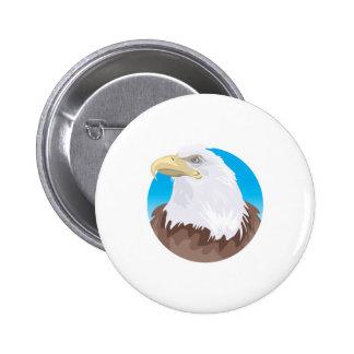 diseño del círculo del águila calva pin redondo de 2 pulgadas