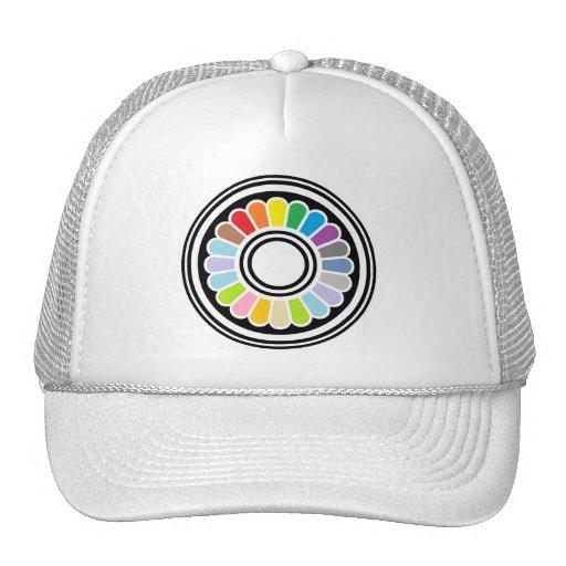 diseño del círculo del arco iris gorras