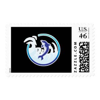 diseño del círculo del chapoteo del delfín sello
