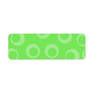 Diseño del círculo en verde. Modelo retro Etiqueta De Remite