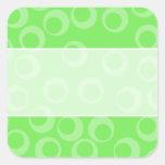 Diseño del círculo en verde. Modelo retro Pegatina Cuadrada
